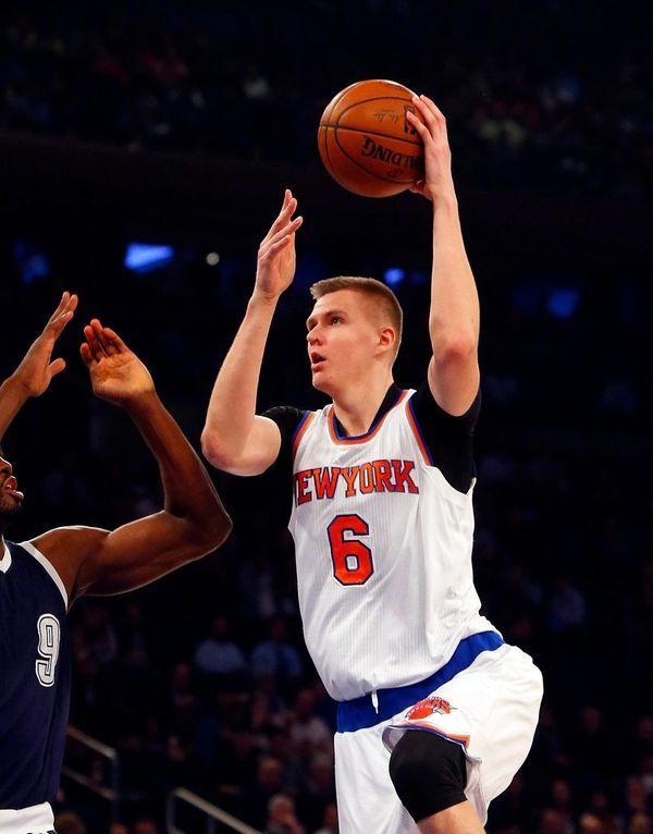 Kristaps Porzingis of the New York Knicks puts