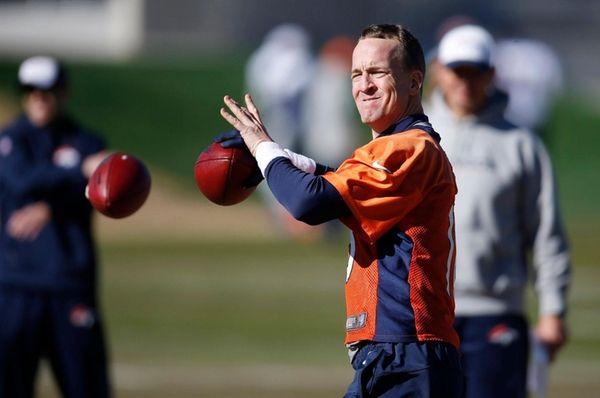 Denver Broncos quarterback Peyton Manning throws during an