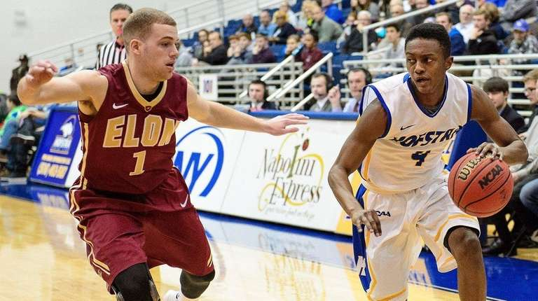 Hofstra Pride guard Desure Buie drives on Elon