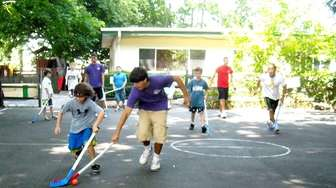 A game of street hockey at South Shore