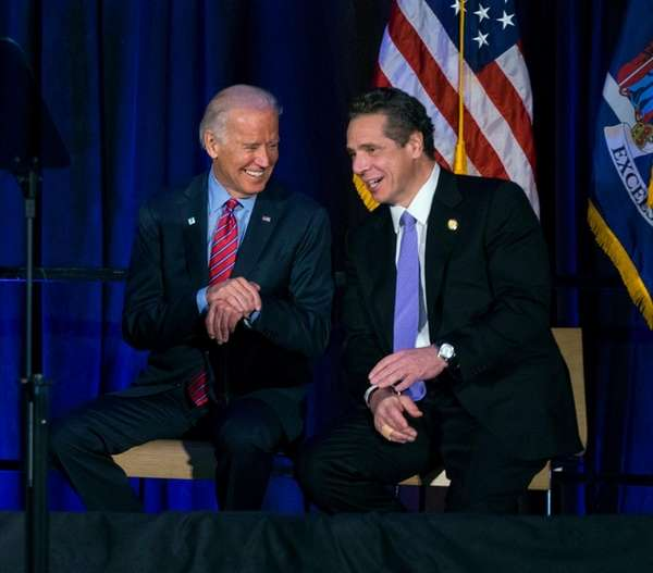 Vice President Joe Biden sits with Governor Andrew