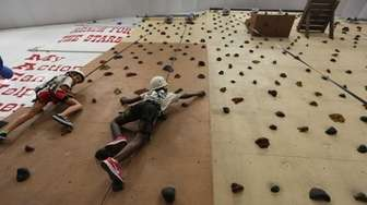 The climbing wall at Coleman Country Day Camp