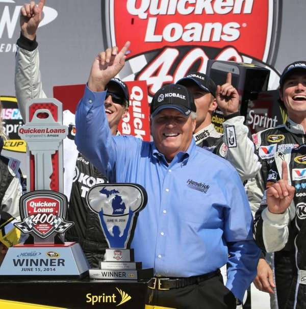 Team owner Rick Hendrick celebrates in Victory Lane