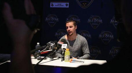 Erik Karlsson of the Ottawa Senators speaks during