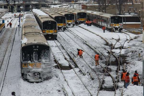 LIRR workers work on the tracks at the