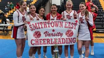 Girls cheerleaders from Smithtown East members, (from left