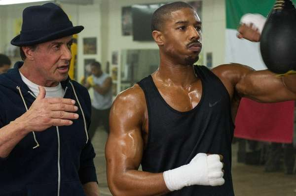 Sylvester Stallone as Rocky Balboa, left, and Michael