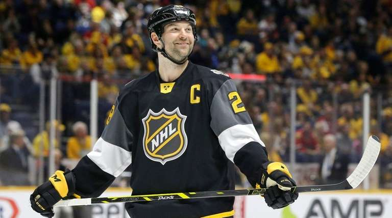 Pacific Division forward John Scott looks into the