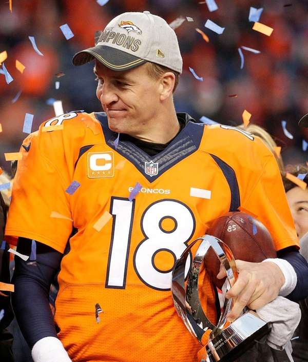Denver Broncos quarterback Peyton Manning holds the AFC