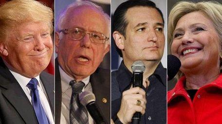 Presidential candidates Donald Trump, Sen. Bernie Sanders (I-Vt.),