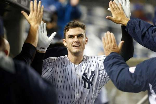 Greg Bird celebrates his seventh-inning home run against