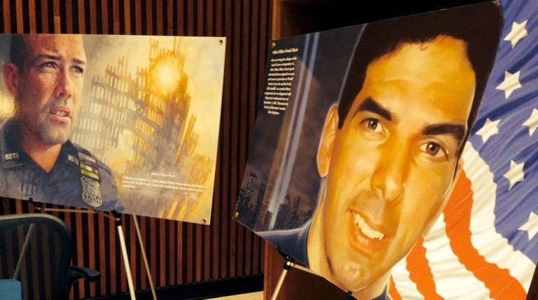 Images of artwork depicting police officer Frank Macri