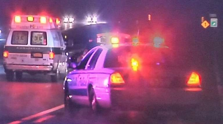A Hunter ambulance at a fatality on Nicolls