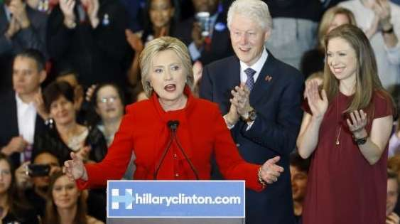 Democratic presidential candidate Hillary Clinton speaks in front