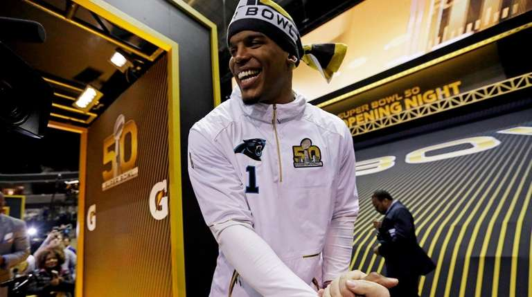 Carolina Panthers' Cam Newton is introduced during Super