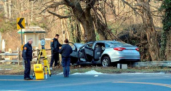 Suffolk County police investigate a fatal accident on
