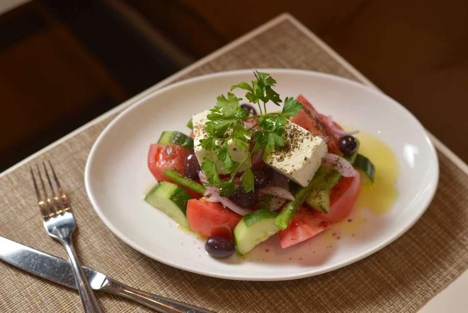 Arahova feta sparks the excellent Greek salad served