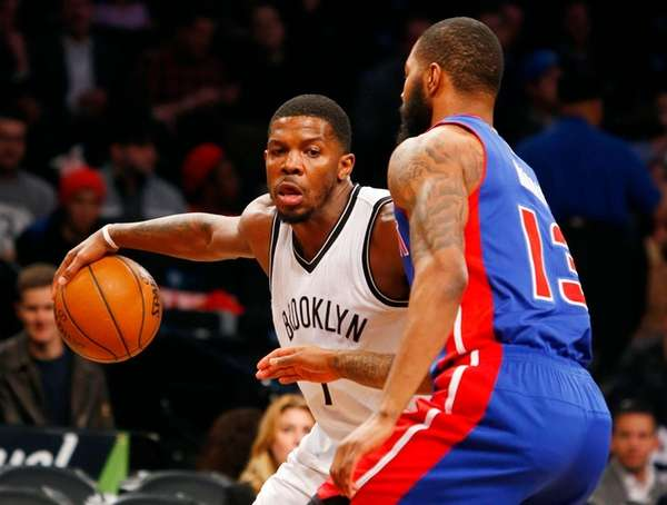 Joe Johnson #7 of the Brooklyn Nets controls