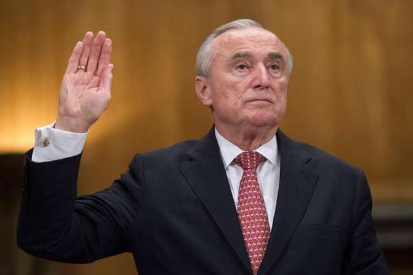 NYPD Commissioner William Bratton is sworn in on