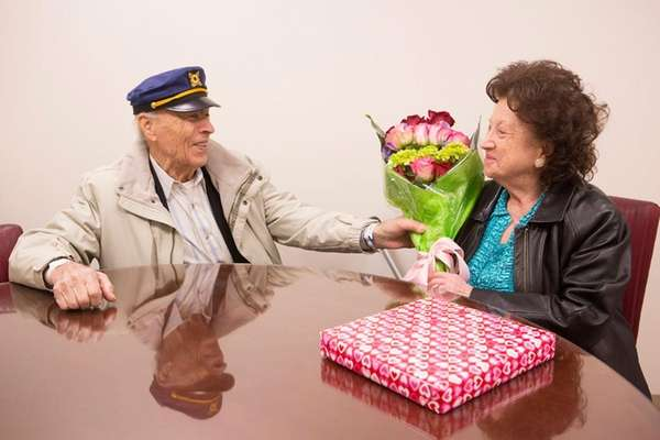 Anthony Leto, 97, gives his wife, Fannie, 90,