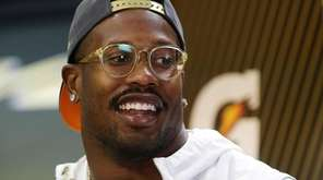 Denver Broncos outside linebacker Von Miller answers a