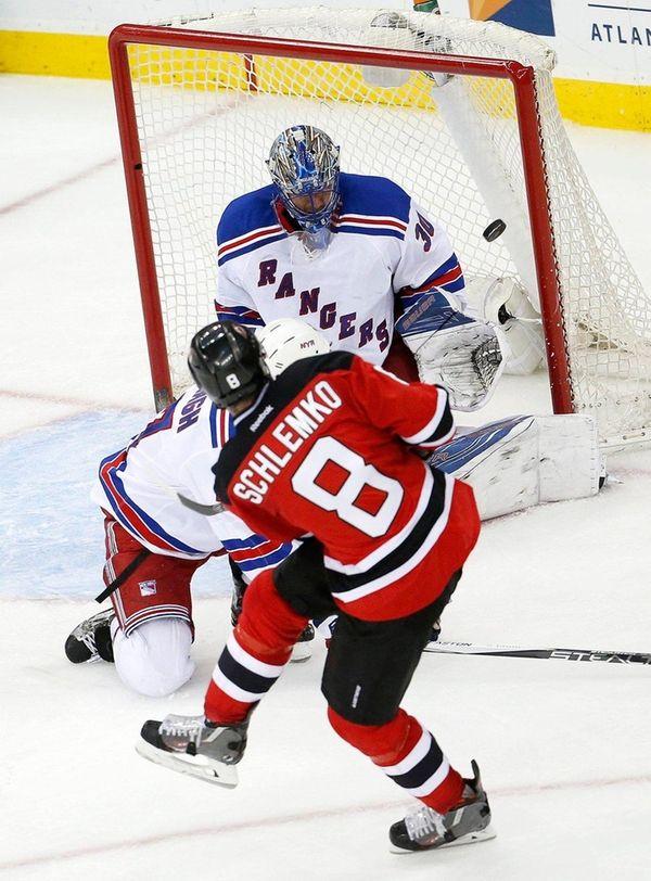David Schlemko beats Rangers goaltender Henrik Lundqvist for