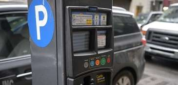 A municipal parking meter is seen in this