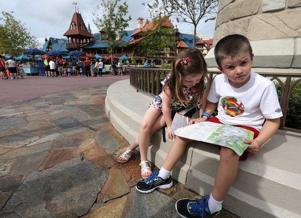 At Disney World, Calum Carpenter, 7, and his