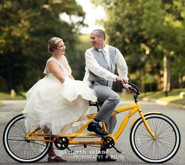 Post ceremony bike ride for the bride and