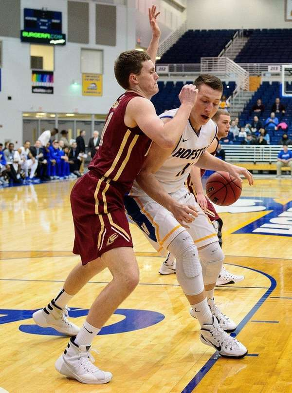 Hofstra Pride forward Rokas Gustys works on Elon