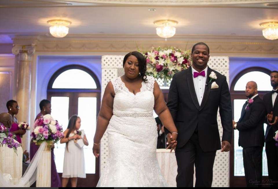 Electa and Rashid Thompson after their wedding ceremony