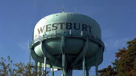Westbury Water District storage tank on Grand Boulevard,
