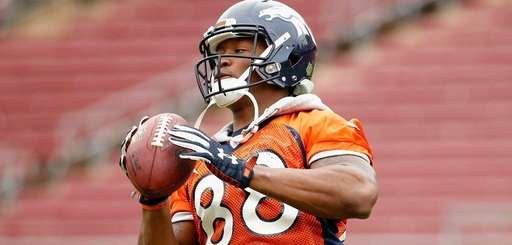 Demaryius Thomas of the Denver Broncos runs drills