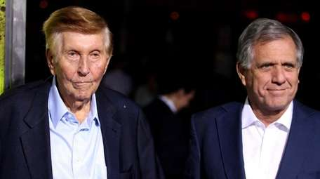 Sumner Redstone, left, and Leslie Moonves attend the