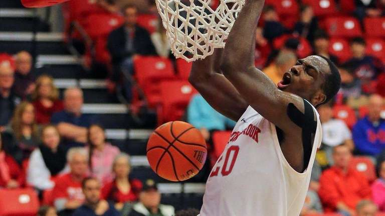 Jameel Warney #20 dunks the ball in the