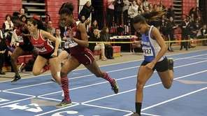 Whitman's Alexandra Greaves wins the 55m dash ahead