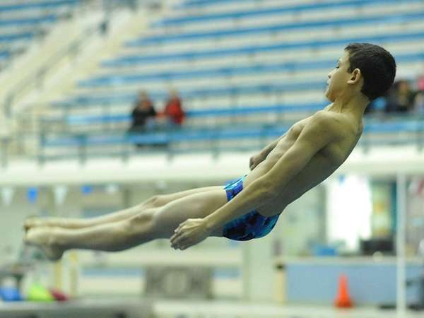 Bellmore-Merrick's Youssef Ibrahim dives at the Nassau diving