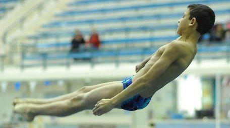 Bellmore-Merrick's Youssef Ibrahim dives at the Nassau diving