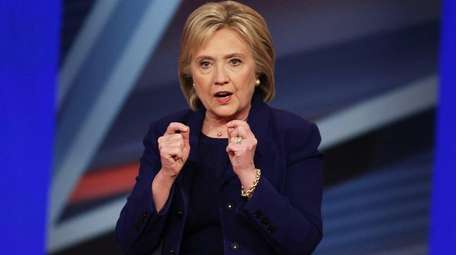 Democratic Presidential candidates Hillary Clinton speaks during a