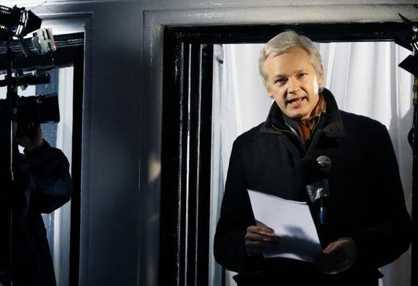 WIkiLeaks founder Julian Assange speaks to the media