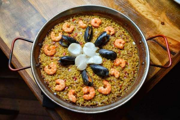 Seafood paella, with baby shrimp, mussels and scallops