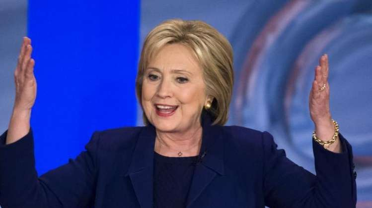 Democratic presidential candidate Hillary Clinton speaks during Democratic