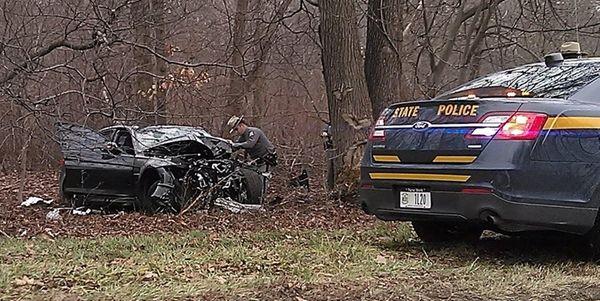 Scene of a one-car crash on Thursday, Feb.