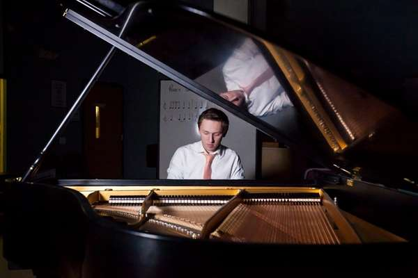 Jazz pianist Sam Towse of Huntington in Studio