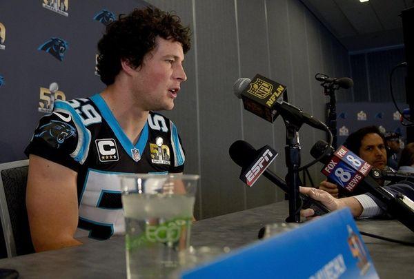 Linebacker Luke Kuechly of the Carolina Panther addresses