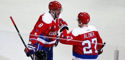 Washington Capitals left wing Alex Ovechkin (8) celebrates