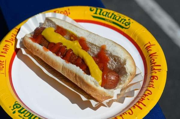 A Nathan's hot dog on Thursday, May 7,