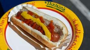 A Nathan's hot dog on Thursday, May 7,