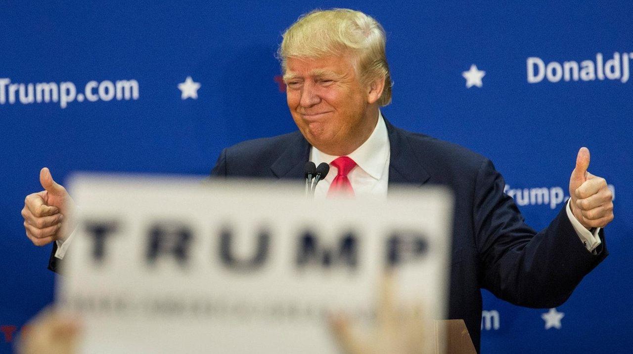 Republican presidential hopeful Donald Trump speaks at
