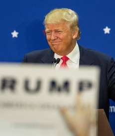 Republican presidential hopeful Donald Trump speaks at